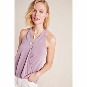 Anthropologie Purple Sleeveless Faux Wrap Top NWT
